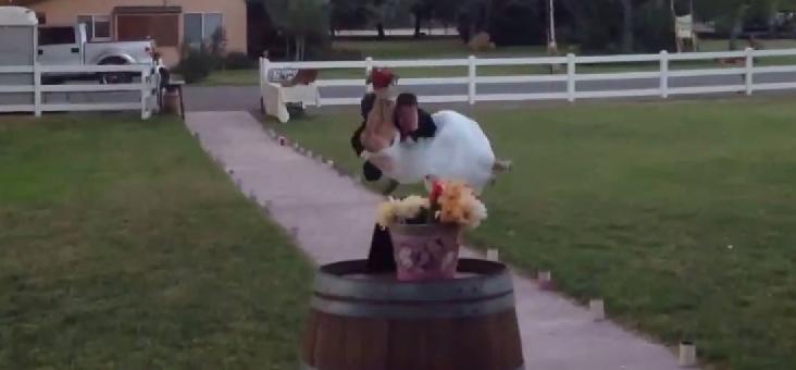 Groom Drops Bride During Grand Wedding Entrance [VIDEO]