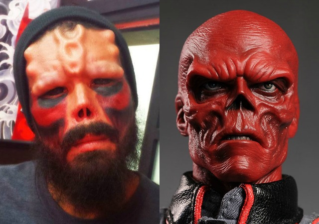Man Cuts off Nose, Alters Face to Look Like The Red Skull! {VIDEO}